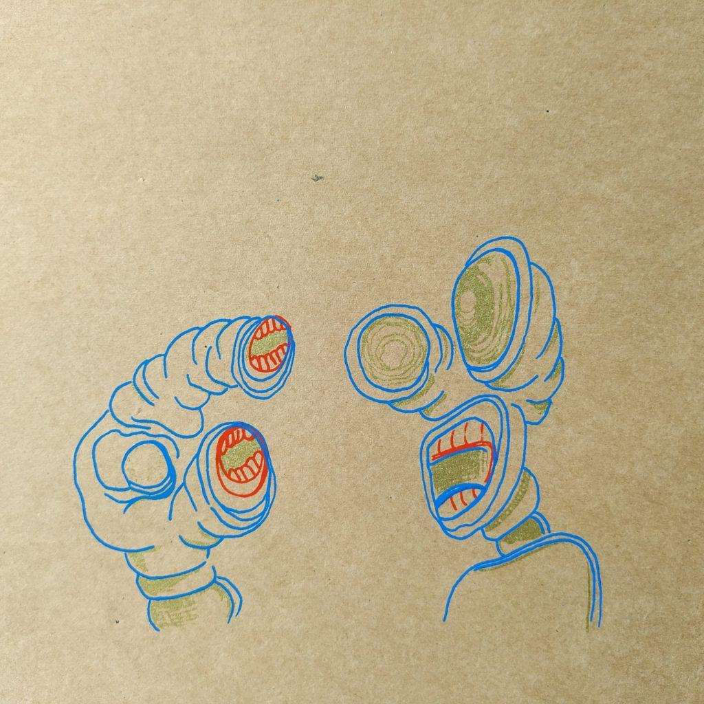 sérigraphie duo monstres